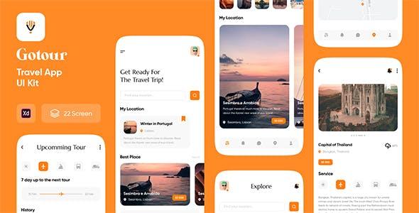 Gotour - Travel app UI kit for Adobe XD