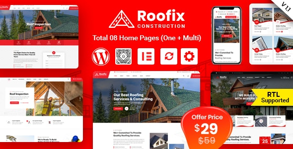 Roofix - Roofing Services WordPress Theme