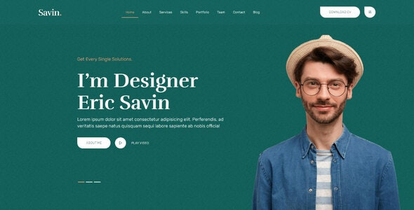 Savin - One Page Personal Portfolio HTML5 Template - Portfolio Creative