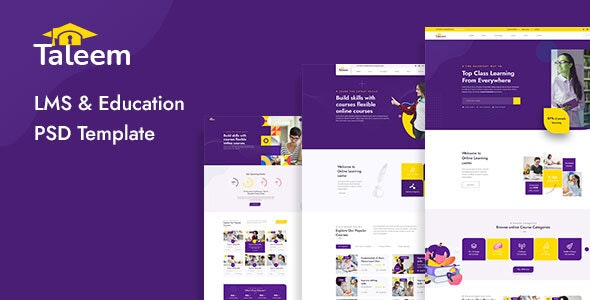 Taleem - LMS and Online Education PSD Template - Nonprofit Photoshop