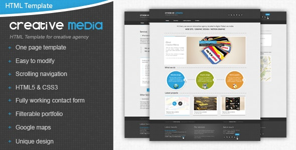 Creative Media One Page Html Template - Creative Site Templates