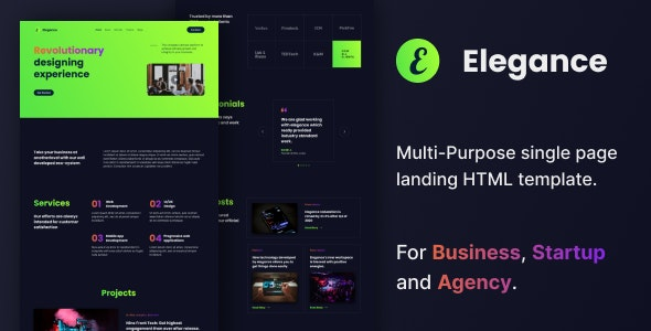 Elegance - Multi-Purpose HTML Landing Page - Creative Landing Pages