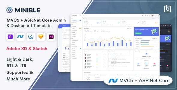 Minible - ASP.Net Core & MVC5 Admin Dashboard Template