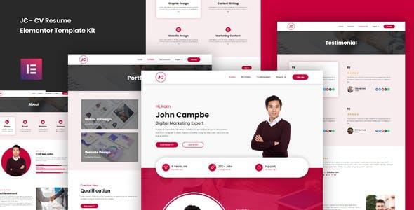 JC - CV Resume Elementor Template Kit