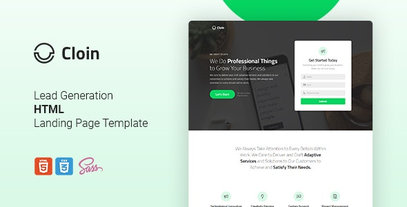 Cloin - HTML Landing Page Template - Corporate Landing Pages