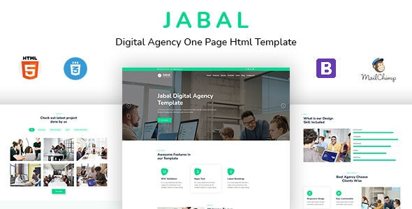 Jabal - Digital Agency One Page HTML Template - Creative Site Templates