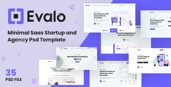 Evalo | Minimal Saas Startup and Agency Psd Template - Technology Photoshop