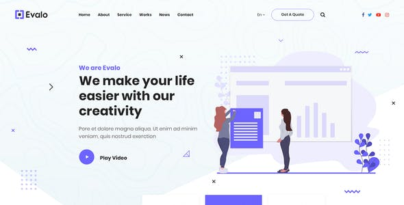 Evalo | Minimal Saas Startup and Agency Psd Template