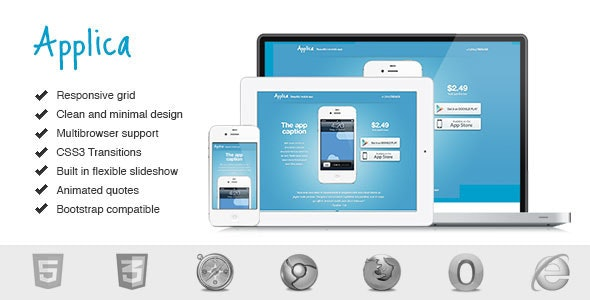 Applica. Responsive Mobile Software Landing Page. - Software Technology