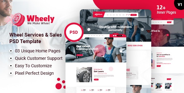 Wheely - Wheel Services & Sales PSD Template - Retail Figma