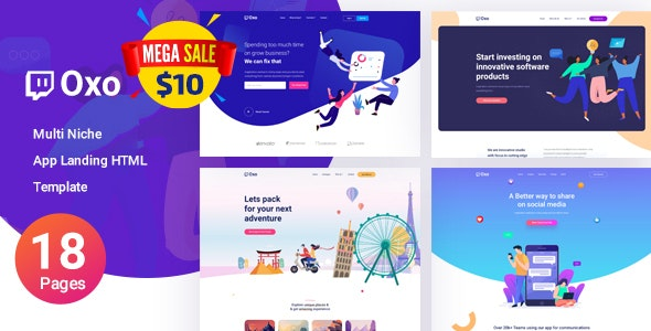 OXO - App Landing Page - Technology Site Templates