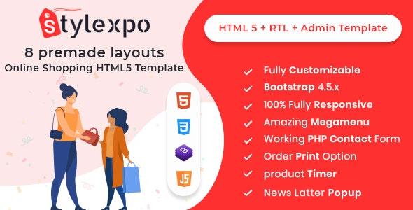 Stylexpo- Responsive Multipurpose  E-Commerce HTML5 + RTL + Admin Template - Retail Site Templates
