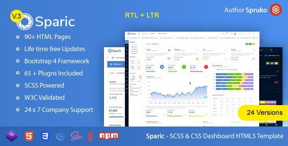 Sparic - Bootstrap Responsive Modern Flat Admin panel Dashboard HTML Template