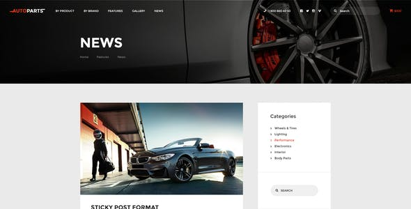 Car Parts Store & Auto Services WordPress Theme + Elementor