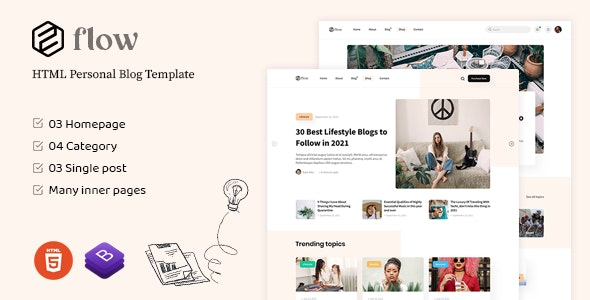 Flow - HTML Personal Blog Template - Creative Site Templates