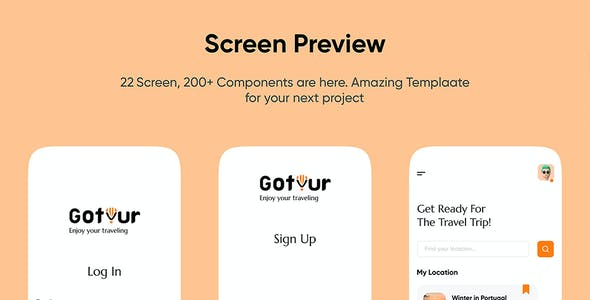 Gotour - Travel app UI kit for sketch