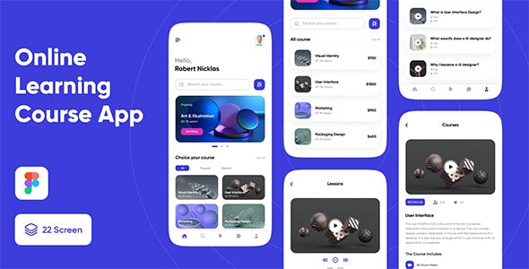 Online learning course app UI kit for figma