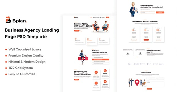 Bplan - Business Agency Landing Page PSD Template - Business Corporate