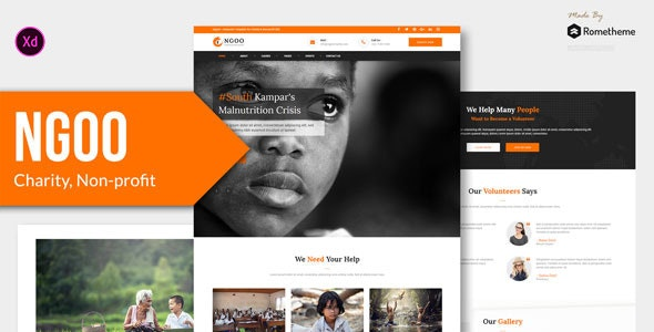 NGOO - Charity, Non-profit, and Fundraising Adobe XD Template - Charity Nonprofit