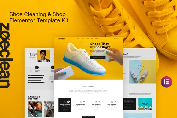 Zoeclean - Shoe Cleaning & Shop Template Kit - Business & Services Elementor