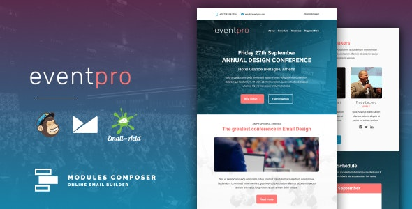 EventPro - Responsive Email for Events & Conferences with Online Builder - Newsletters Email Templates