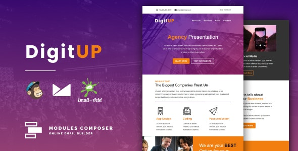 Digitup - Responsive Email for Agencies, Startups & Creative Teams with Online Builder - Email Templates Marketing