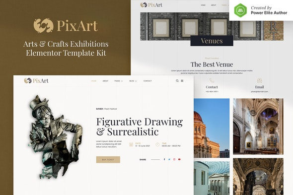Pixart – Arts & Crafts Exhibition Elementor Template Kit - Events & Entertainment Elementor
