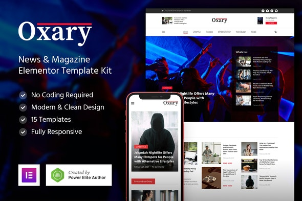 Oxary – News & Magazine Elementor Template Kit - News & Magazines Elementor
