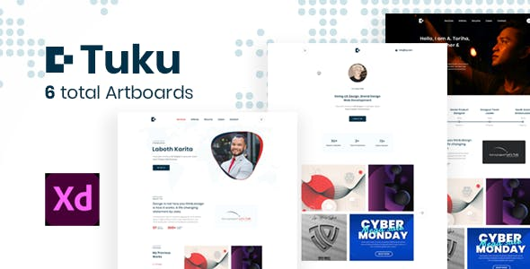Tuku - Minimal Personal Portfolio Adobe Xd Template