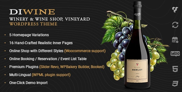 Diwine - Winery & Wine Shop, Vineyard WordPress Theme - Retail WordPress