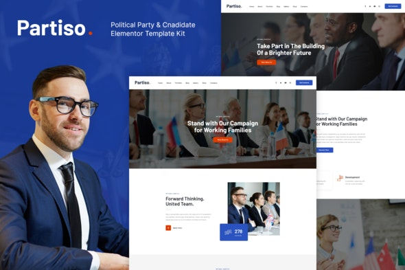 Partiso | Political Party & Candidate Elementor Template Kit - Non-Profit & Religion Elementor