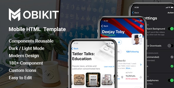 Mobikit - HTML Mobile Template - Mobile Site Templates