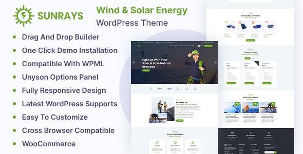 Sunrays – Solar Power & Green Energy WordPress theme - Business Corporate