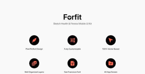 Forfit - Sketch Health & Fitness Mobile UI Kit