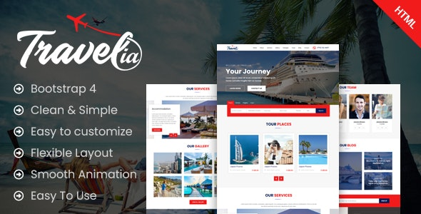Travellia - Travel Landing One Page HTML Template - Business Corporate