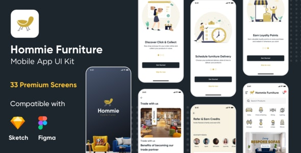 Hommie Furniture Sketch and Figma Mobile App UI Kit - Shopping Retail