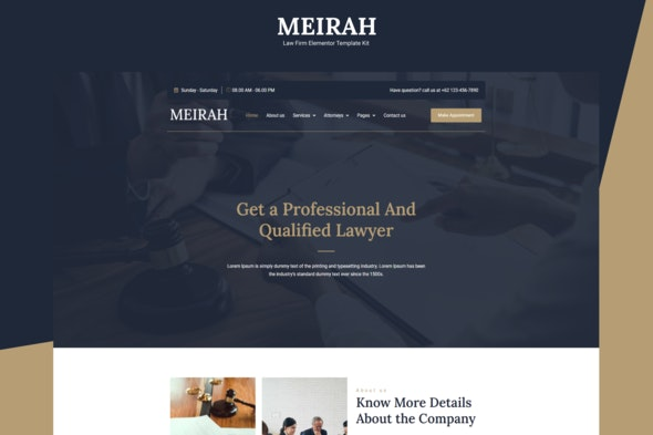 Meirah - Law Firm Elementor Template Kit - Business & Services Elementor