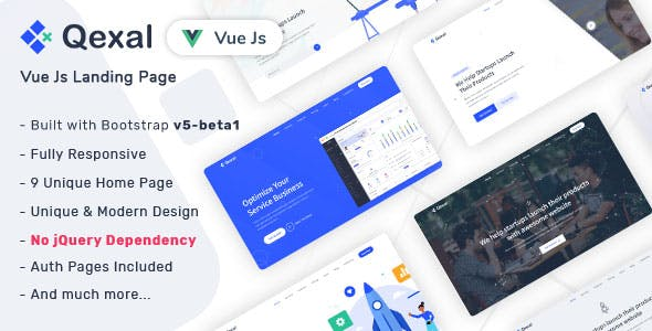 Qexal - Vue Js Landing Page Template