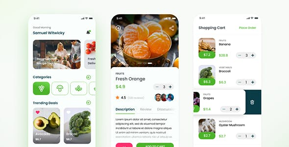 Grocery Mobile App HTML ( Framework 7 + PWA )