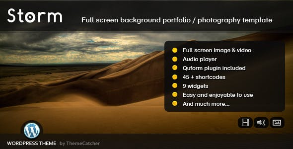 Storm WordPress - Full Screen Background Theme