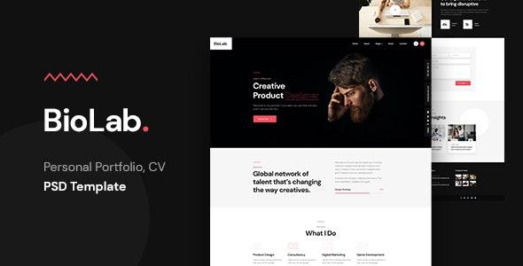 BioLab - Personal Portfolio, CV PSD Template - Portfolio Creative