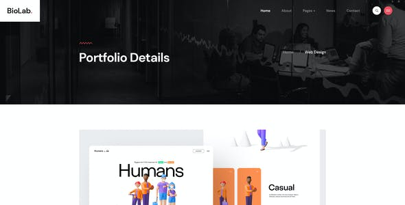 BioLab - Personal Portfolio, CV PSD Template