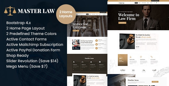 Masterlaw - Attorney HTML Template - Business Corporate