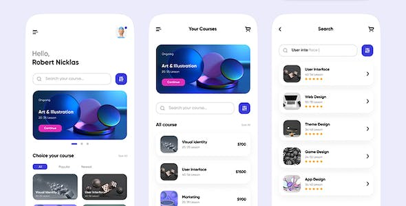 OnlineLearning — Course App UI Kit for Adobe XD