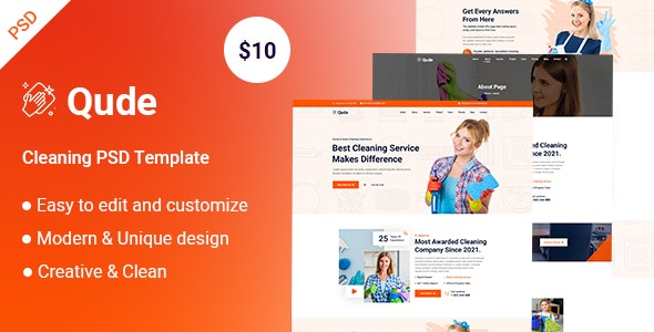 Qude- Cleaning PSD Template - UI Templates