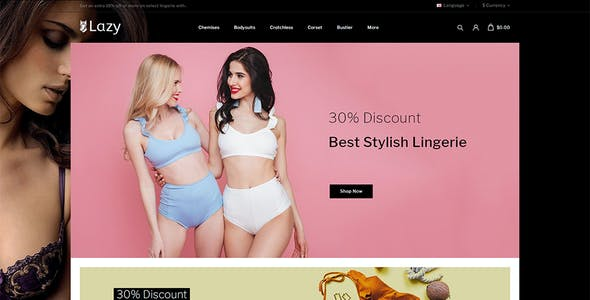 Lazy - Lingerie Store OpenCart 3.x Responsive Theme