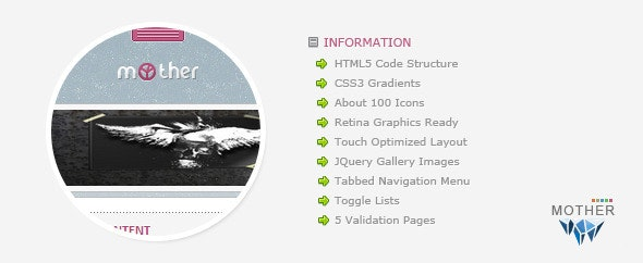 «Mother» Template - Mobile Site Templates