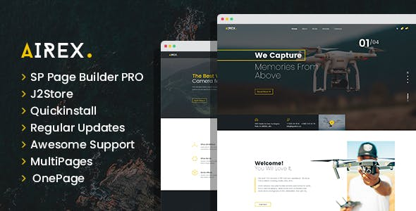 Airex - Drone and Copter Single and Multi page Joomla Template