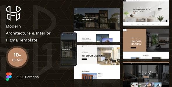 Hellix - Modern Architecture & Interior Figma Template - Portfolio Creative