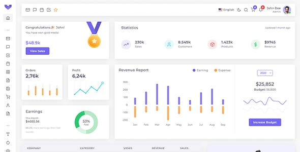 Vuexy - Vuejs, React, Angular, HTML & Laravel Admin Dashboard Template